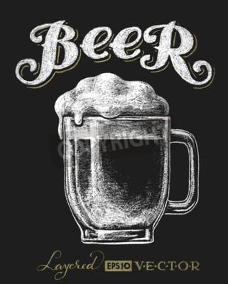 Fotomural Ilustración vectorial de vidrio de cerveza de tiza en la pizarra. Eps10. Transparencia utilizada. RGB. Colores globales. Gradientes libres. Cada elemento se agrupa por separado