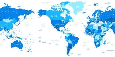 Fotomural Ilustración vectorial muy detallada de mapa del mundo.