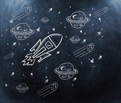 Fotomural Imagen compuesta de planeta, estrellas y cohete