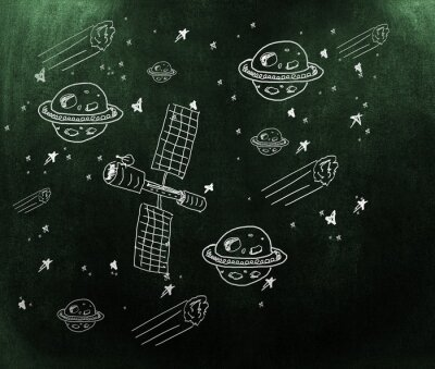 Fotomural Imagen compuesta de planeta, estrellas y satélite