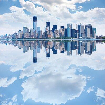 Fotomural Imagen panorámica de la silueta de Manhattan