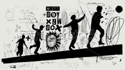 Fotomural Imagen simbólica de niños que corren sobre un tronco.