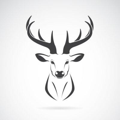 Fotomural Imagen vectorial de un diseño de cabeza de venado sobre fondo blanco