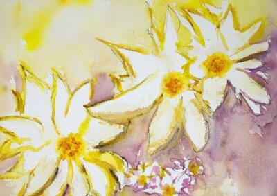 Fotomural Impresión de flores salvajes contra un fondo amarillo y rojo. La técnica de pinchado cerca de los bordes da un efecto de enfoque suave debido a la rugosidad superficial alterada del papel.