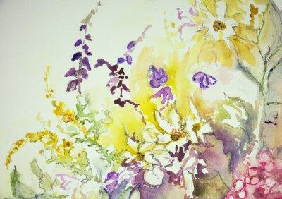 Fotomural Impresión de una mezcla de flores silvestres. La técnica de pinchado cerca de los bordes da un efecto de enfoque suave debido a la rugosidad superficial alterada del papel.