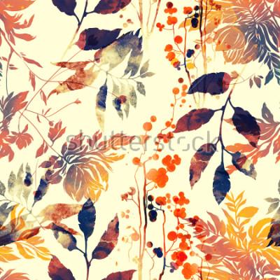 Fotomural imprime flores y hojas mezclar repetir patrones sin fisuras. Acuarela y cuadro dibujado a mano digital. ilustraciones vintage mixtas