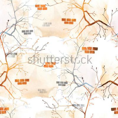 Fotomural Imprime la rama del árbol de primavera con brotes jóvenes contra la pared vieja. patrón de fondo sin motivo Acuarela abstracta y cuadro dibujado mano digital. Obra de arte mixta para textiles, telas,