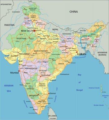 Fotomural India - mapa político editable altamente detallado con el etiquetado.