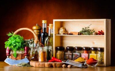 Fotomural Ingredientes de cocina, especias y hierbas