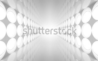 Fotomural Interior 3d abstracto blanco con patrón de luces de decoración redonda en la pared