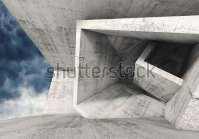 Fotomural Interior de la habitación de concreto con estructuras cúbicas caóticas y cielo nublado oscuro afuera. Fondo abstracto de la arquitectura, ilustración 3d