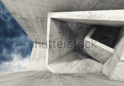 Fotomural Interior de la habitación de hormigón con estructuras cúbicas caóticas y cielo nublado oscuro afuera. Fondo abstracto de la arquitectura, ilustración 3d