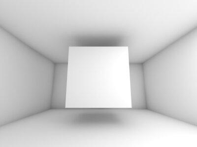 Fotomural Interior de la sala blanca abstracto con el cubo del vuelo