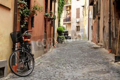Fotomural Italia, calle con bicicleta y flores en Roma