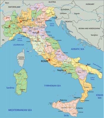 Fotomural Italia - mapa político editable altamente detallados con capas separadas.