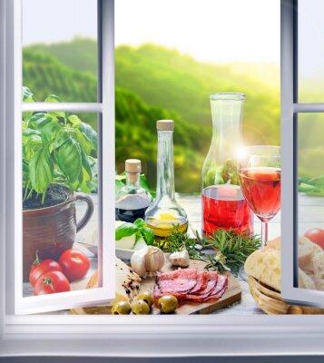 Fotomural Italienische Küche - Vorspeisen (Antipasti) am Fenster