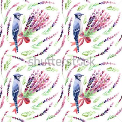 Fotomural Jay azul con el modelo de la lavanda en un fondo blanco. Acuarela pintada a mano ilustración.