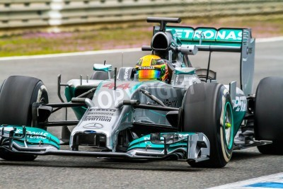 Fotomural JEREZ DE LA FRONTERA, ESPAÑA - 31 de enero: Lewis Hamilton de carreras Mercedes F1 en la sesión de entrenamiento el 31 de enero de 2014, en Jerez de la Frontera, España