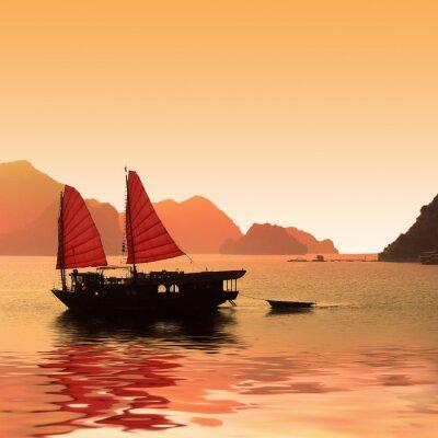 Fotomural Jonque dans la baie d'Halong - Vietnam