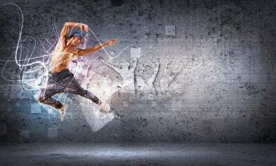 Fotomural joven bailando hip hop con líneas de color
