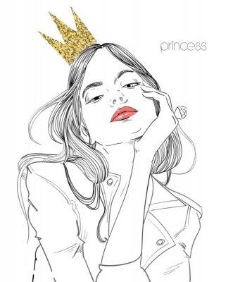 Fotomural joven bella mujer con corona