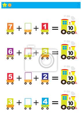Juego Educativo De Matematicas Para Ninos Ilustracion Matematica