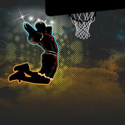 Fotomural Jugador de baloncesto va para dunk dos dados