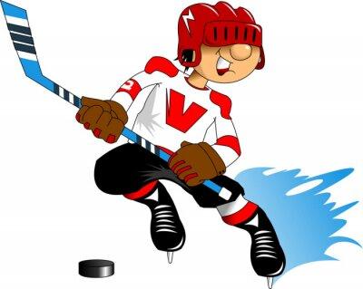 Fotomural jugador de hockey en blanco