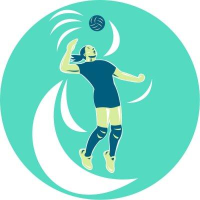 Fotomural Jugador de voleibol de clavar alto círculo retro