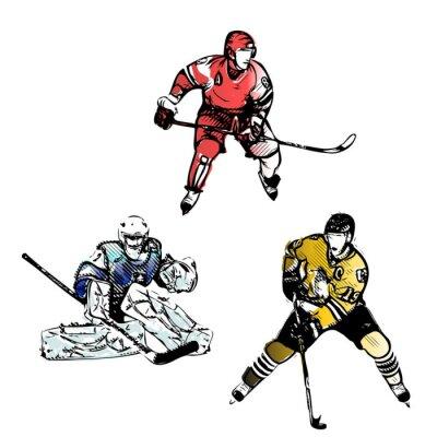 Fotomural jugadores de hockey sobre hielo ilustraciones vectoriales