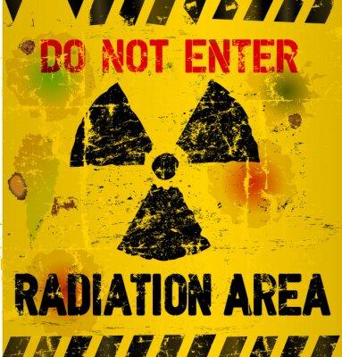Fotomural La advertencia de zona de radiación, ilustración vectorial