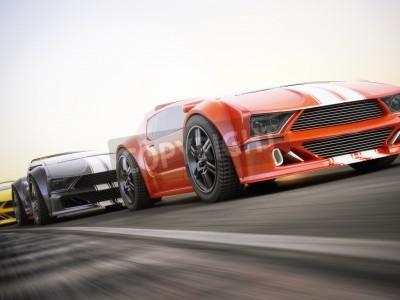 Fotomural La carrera, exóticos coches deportivos de carreras con desenfoque de movimiento. Representación 3d realista genérica de la foto de encargo.