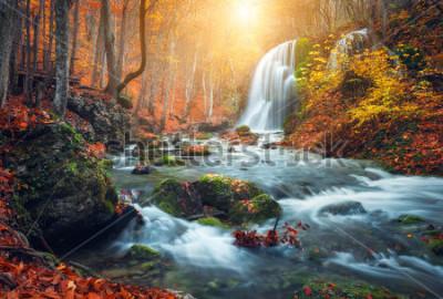 Fotomural La cascada hermosa en el río de la montaña en bosque colorido del otoño con rojo y la naranja se va en la puesta del sol. Paisaje de la naturaleza