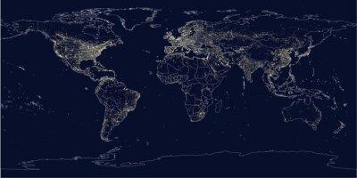 Fotomural La ciudad de la Tierra enciende mapa político