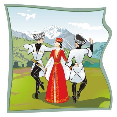 Fotomural La danza Lezginka, Danzas del del Cáucaso del Norte. Dos hombres y una mujer bailando sobre el césped lezginka Osetia. En las montañas de fondo, ilustración vectorial