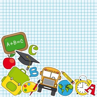 Fotomural La educación y la escuela icono conjunto. Espacio para el texto
