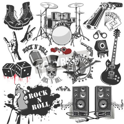 Fotomural La imagen vectorial de conjunto de símbolos vectoriales relacionados con el rock and roll