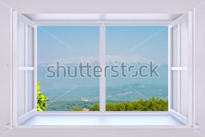 Fotomural La naturaleza detrás de una ventana render 3d con foto insertada