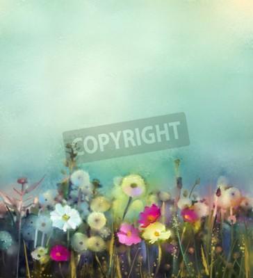 Fotomural La pintura al óleo florece diente de león, amapola, margarita en campos. Pintura de mano Wildflowers campo en el prado de verano. Naturaleza estacional floral de la primavera con azul - verde en fondo