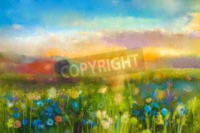Fotomural La pintura al óleo florece el diente de león, cornflower, margarita en campos. Puesta de sol pradera paisaje con wildflower, colina y el cielo en color naranja y azul de fondo. Pintura de mano verano