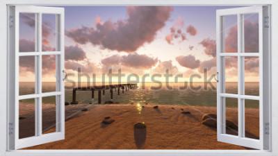 Fotomural La playa, la vista desde la ventana.