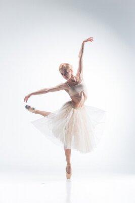 Fotomural La silueta de la bailarina en el fondo blanco
