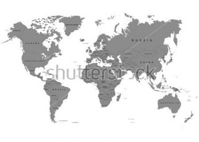 Fotomural La tierra, mapa del mundo sobre fondo blanco. Antártida. Ilustración vectorial