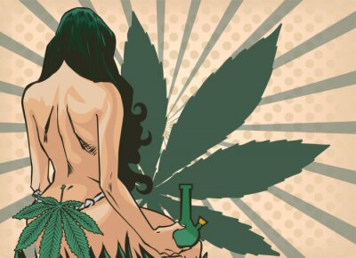 Fotomural Lady with cannabis leaf. The marijuana leafs on the background. Naked woman, vector image