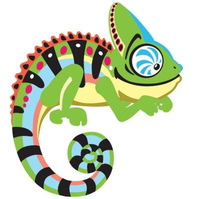 Fotomural lagarto camaleón de la historieta. Imagen Vista lateral aislado en blanco