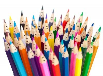 Fotomural Lápices de colores como caras sonrientes personas aisladas. Networ Social