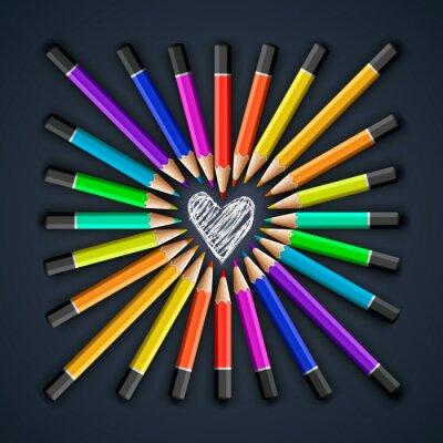 Fotomural Lápices de colores, la forma del corazón, vector Eps10 ilustración.