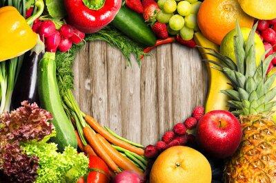 Fotomural Las verduras y la fruta en forma de corazón