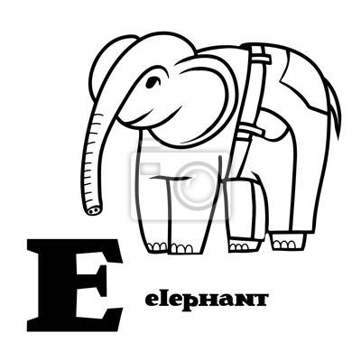 Letra e. parte del alfabeto animal. elefante de dibujos animados ...
