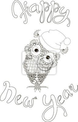 Letras Feliz Año Nuevo Zentangle Linda Búho Ilustración Vectorial